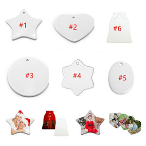 DIY Heat Transfer Blank Ceramic Pendant White Thermal Transfer Coated Round Star Heart Shape Pendents Christmas Ornaments Decors F112701