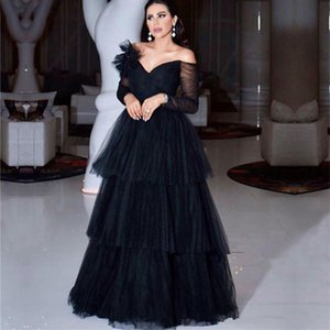 Arabic Off The Shoulder Tulle A Line Evening Dresses 2021 Long Sleeves Layered Ruffles Floor Length Formal Party Prom Gowns