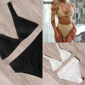 RUUHEE 2020 High Waist Swimwear Sexy Women Swimsuit Solid Bikini Set Bathing Suit Push Up Beachwear Female Summer Biquini J1208
