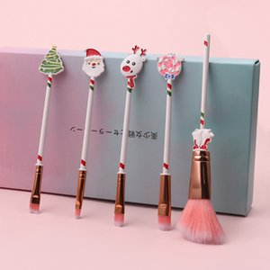 5Pcs Christmas Makeup Brushes Set Kit Beautiful Professional Make Up Brush Tools With Drawstring Santa Claus Print Bag Xmas Gift PPD3417