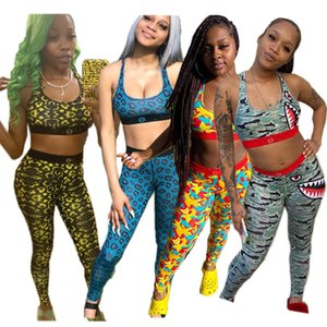 Mode Femmes Two Piece Ensemble Shark Print Tracksuit Push Up Gilet Bra + Pantalons Leggings Sports Spagne Tenues d'été Vêtements de sport