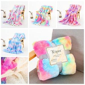 Plush Throw Blanket Rainbow Super Soft Long Shaggy Blankets Colorful Fuzzy Faux Fur Warm Elegant Cozy Throw Sofas Bedding YFA2665