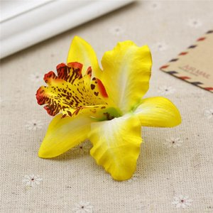 7CM Silk Orchid Artificial Flower Orchids High Quality Diy Flower For Wedding Hat Decoration Hawaiian Party