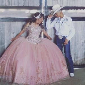Pink Ball Gown Quinceanera Dress Off the Shoulder Crost Back Bead Crystal 2021 vestidos de 15 años Sweet 16 Year Gowns