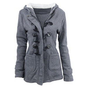 Women Jackets Winter Coat Jacket Outwear New Style Horn Button Coat Women Thickened Hooded Blended Jacket Cotton Coat