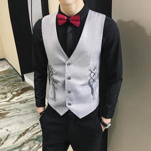 2020 New man dress vest Braided ribbon decoration slim suit vests men formal fashion waist caot for men brief gilet