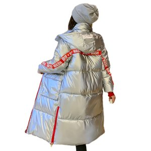 Winter Long Jacket For Women Stand- Up Collar Parka Female Hooded Coat With Shining Fabric Long Warm Cotton Padded 201125
