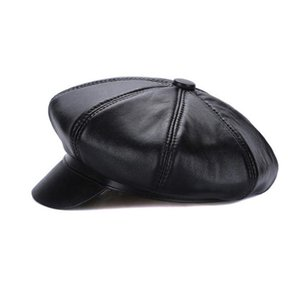 New Autumn Winter Women 100% Natural Sheepskin Leather Berets Hats Casual Octagonal Sheepskin Leather Caps Wholesale Retail