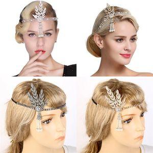 Rhinestone Crystal Headband Boda Joyería Boda Manual de hojas Pearl Fake Pearl Hoop Hoop Bridal Vestido completo Accesorios CHILMS 11 5DYA N2
