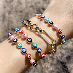 FLOLA Multicolor Enamel Evil Eye Bracelets For Women Gold Curb Link Chain Bracelet Adjustable Turkish Boho Jewelry Gifts brtc64