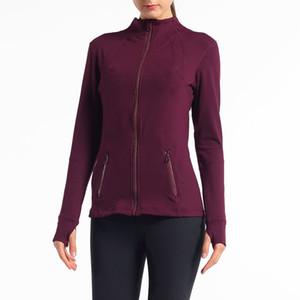 2021 Langarm T-shirts Frauen Yoga Outfits Gym Compression Strumpfhosen Womens Sport Tragen Fitness Yoga Training Reißverschluss Jacke