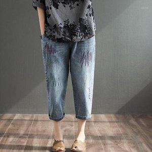 Qpfjqd primavera autunno vintage ricamo fori fori in vita elastica jeans allentati moda casual moda donna harem pantaloni di jeans1