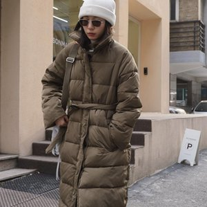Obrix New Style Fashionable Winter Female Coat Solid Color Long Jacket With Belt For Women Z1211