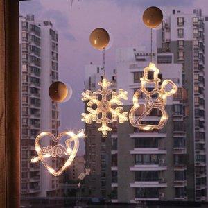 LED Christmas Supção Luzes Boneco de Neve Decorações de Natal Decorações Janela Luzes decorativas Xmas Creative Susping Lights BWA2418