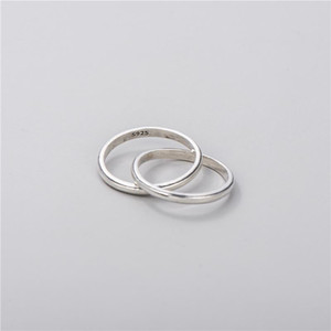 Sodrov S925 sterling silver interlocking ring female Korean style simple temperament literary double ring closed HK 12 - 18