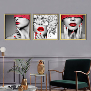 Red Lip Woman Sexy Poster Wall Art Canvas Painting Nordic Wall Pictures for Living Room Bedroom Decor Picture Beauty Art Print