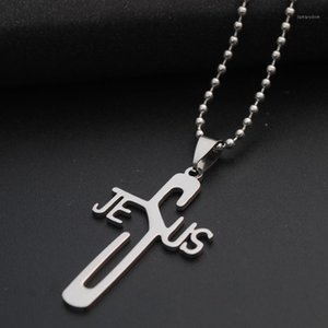 Christian faith English Jesus necklace stainless steel English letter JESUS cross necklace personality letter cross1