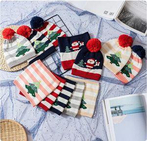 Горячие рождественские подарочные шапки шапки шарф двух частей для мальчиков и девочек детская теплая вязать зимняя шляпка шеи шарф для 1-5Y детей FFE3216