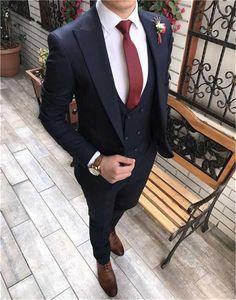 New Style Groomsmen Navy Blue Groom Tuxedos Peak Lapel Men Suits Wedding Prom Dinner Best Man Blazer ( Jacket+Pants+Tie+Vest ) G165