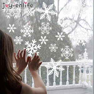 1set White Snowflake Sticker Decoration Glass Window Kids Room Christmas Wall Stickers Home Decals Decoration New Year 2020 Y1126