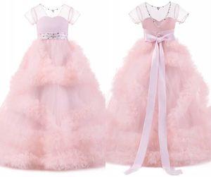 2020 Blush Pink Girls Pageant Dresses Christmas Dresses For Girls Ruffles Beaded Jewel Neck Ball Gown Flower Girl Dresses Bow In Stock Cheap