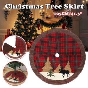 """105cm 41.3"""" Christmas Tree Skirt Cover Red Plaid Round Floor Mat Carpet Ornaments Christmas New Year Home Party Decoration"""