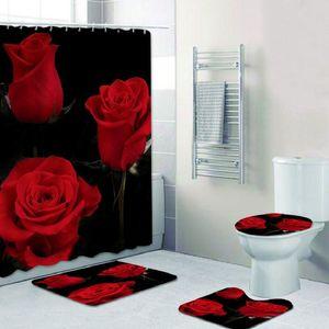 4pcs / 세트 3D 디지털 발렌타인 데이 로맨틱 스타일 인쇄 샤워 커튼 카펫 바닥 매트 조합 화장실 화장실 매트 F1222