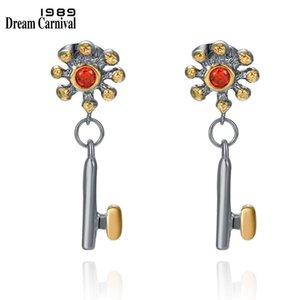 DreamCarnival1989 Orecchini femminili per le donne appese tasti carini charms abbagliante Zirconia Zirconia Elegante gioielli datazione WE4029X2