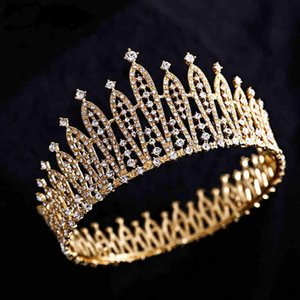 Amanda Novias Bride wedding crown headdress 2020 new Baroque round crown wedding white gauze dress hair accessories