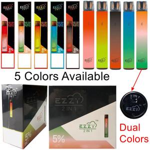 Dual Colors Ezzy 2in1 Одноразовые ручки Vape 2000Puffs Портативные стручки System 2 в 1 Набор наборов на паровой ручки предварительно заполненные 6,5 мл POD