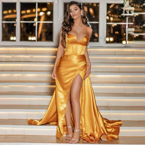 Sexy Slit Spaghetti Gold Prom Dresses Sweetheart Corset Long High Split Overskirt Long Satin Formal Evening Gown 2021 Arabic Dubai Pageant