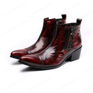Fashion Printing Men Ankle Boots Autumn Winter Genuine Leather Mid Heel Pointed Toe Zipper Designer Formal Boots