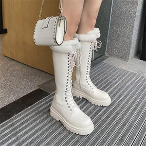 PXELENA Thick Wool Fur Knight Riding Motorcycle Biker Combat Snow Boots Women PU Leather Chunky Heels Punk Gothic Shoes