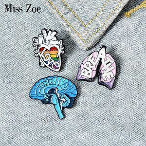 Pins, Brooches Organ Enamel Pins Custom Heart Lung Brain Brooch Lapel Pin Shirt Bag Love Breath Mind Badge Cartoon Jewelry Gift For Friends1