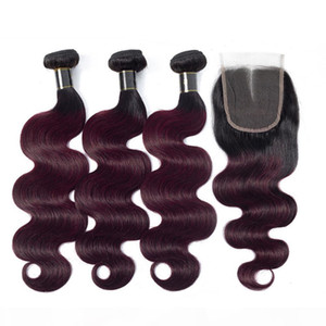#1B 99J Wine Red Ombre Indian Virgin Hair Bundles Body Wave with Closure Burgundy Ombre Human Hair Weave Wefts with Lace Closure 4x4