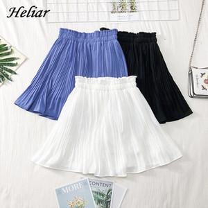 HELIAR Skirt Ruffles A-line Mini Dress Pleated Elastic High Waist Solid Students Skirt Femme 2019 Summer Women Midi Skirt Z1122