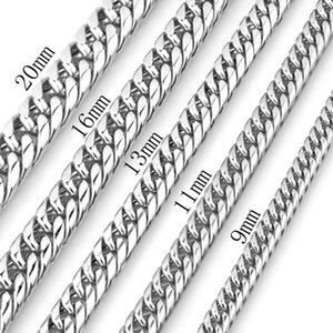 9 11 13 16 20mm Punk Style 316L Stainless Steel Cuban Curb Link Chains For Men Boys Men's Jewelry Necklace 7-40""