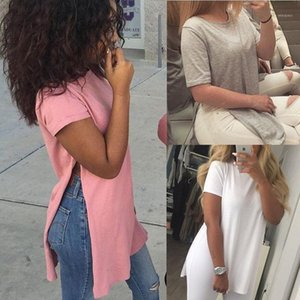 2016 summer casual split short sleeve tshirt kawaii women tops solid color white gray pink black female1