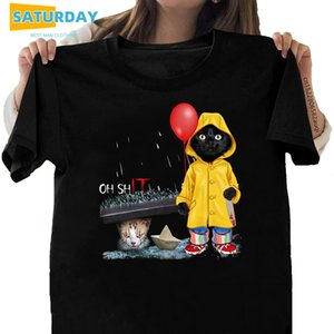 Frauen Schwarze Katze Oh Scheiße Katze Pennyse It 100% Baumwolle T-shirt Lustige Cartoon T-Shirt Mädchen Casual Cool Streetwear Tshirt, Drop Ship X1217