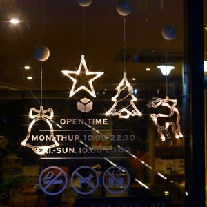 Luci per tende Christmas LED String String Fairy Lights Christmas Sucker Chandelier Finestra Light Moon Star Ghirlands Lampada