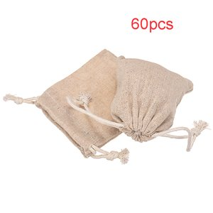 60Pcs Small Linen Bags Pouch Jute Sack Gift Bags Drawstring Design Jewelry Christmas Gift Pouch Home Party Favor Storage Bags Q1126