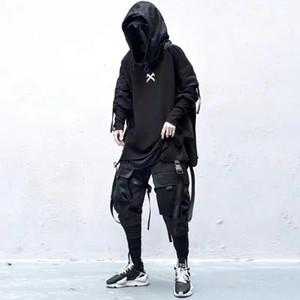 11 BYBB está escuro japonês Streetwear Man Hoodies Hip Hop Embroideried pulôver Patchwork Falso Two DarkWear Tops Techwear Hoodies 201116