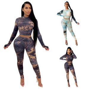 2021 Spring Thread Tie-Dye Random Printed Pants Set Super Bouncing Strip