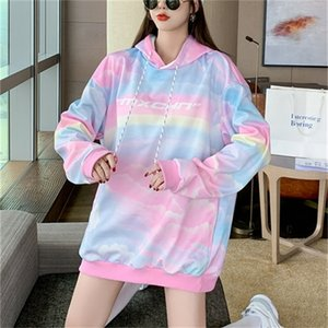 Tie dye hooded sweater women's Plush fall winter loose Korean fashion brand ins gradual thickening super fire top design