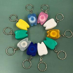DHL Free Shipping Waxed Mint 15m Floss Yarn Tooth Shape Pink Key Chain Dental Floss Keychain