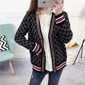 Cardigan jacket women's knit sweater loose long-sleeved Korean version of the new wild short western-style jacket trend printing jacket