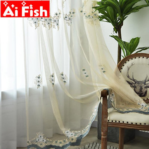 Luxury embroidered floral lace tulle curtain for window curtains for living room the bedroom pastoral tulles kitchen wp448#5