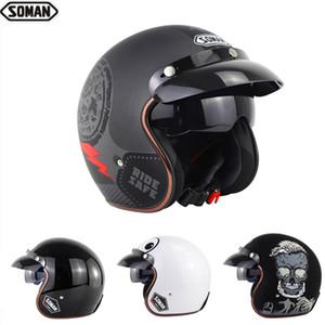 scooter Helmets Half-face Retro Dot Approved big eyes skull 3 4 Chopper Motorcycle Helmet capacete motocicleta Soman SM521