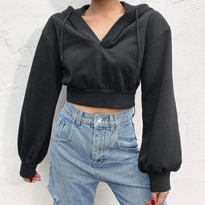 HIRIGIN 2021 V Neck Drawstring Hoodies Women Sexy Exposed Navel Hoodies Autumn Long Sleeve Solid Loose Fit Sweatshirts Crop Tops