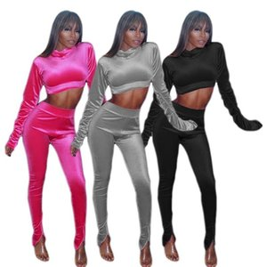 women clothes velvet high-necked navel hoodie elasticated waist trousers outfits women two pieces set